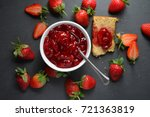 homemade bowl of jam made with... | Shutterstock . vector #721363819