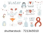 winter set  hand drawn style  ... | Shutterstock .eps vector #721365010