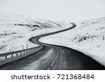 Uphill Road Landscape In Winte...