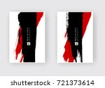 black red ink brush stroke on... | Shutterstock .eps vector #721373614