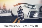 front of the sports car. 3d... | Shutterstock . vector #721374718