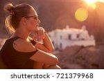 beautiful woman enjoying... | Shutterstock . vector #721379968