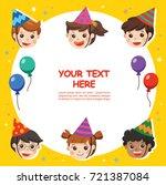 happy birthday. beautiful kids... | Shutterstock .eps vector #721387084