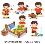 the daily routine of a cute boy ... | Shutterstock .eps vector #721387099