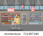 supermarket store interior with ... | Shutterstock . vector #721387180