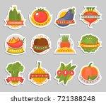 vector vegetables label logo... | Shutterstock .eps vector #721388248