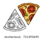 slice pizza mexican. top view.... | Shutterstock .eps vector #721393690