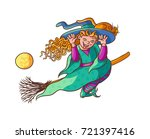 bright vector happy girl witch... | Shutterstock .eps vector #721397416