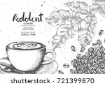 coffee product label with latte ... | Shutterstock .eps vector #721399870