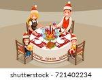 christmas family dinner party....   Shutterstock .eps vector #721402234