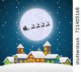 christmas santa claus flying on ... | Shutterstock .eps vector #721405168