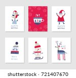collection of 6 christmas card... | Shutterstock .eps vector #721407670