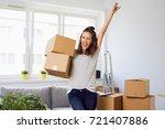 joyful young woman standing in... | Shutterstock . vector #721407886