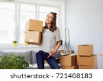 smiling young woman moving to... | Shutterstock . vector #721408183