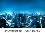 night blue cityscape view in... | Shutterstock . vector #721410769