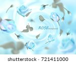 the buds of gently blue roses... | Shutterstock .eps vector #721411000