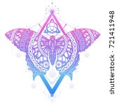 butterfly tattoo and t shirt... | Shutterstock .eps vector #721411948