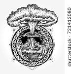 nuclear explosion tattoo art.... | Shutterstock .eps vector #721412080