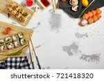 japanese sushi rolls set with... | Shutterstock . vector #721418320