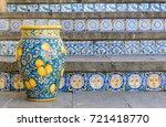 ceramic vase on the staircase...   Shutterstock . vector #721418770