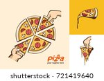 pizza.  large sliced pizza. a... | Shutterstock .eps vector #721419640