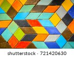 colorful ceramic cubic wall... | Shutterstock . vector #721420630