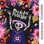 mexican skeleton in the floral... | Shutterstock .eps vector #721424980