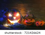 halloween pumpkins on a wooden... | Shutterstock . vector #721426624