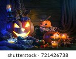 halloween pumpkins and candy on ... | Shutterstock . vector #721426738