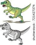 tyrannosaurus    cartoon | Shutterstock .eps vector #721427374