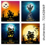happy halloween banner set | Shutterstock . vector #721428469