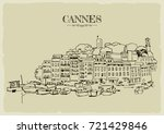 coast of cannes with boats. | Shutterstock .eps vector #721429846