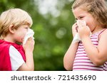 kids with hay fever or the flue ... | Shutterstock . vector #721435690