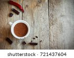 hot chocolate with chili pepper ...   Shutterstock . vector #721437604