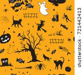 halloween vector seamless... | Shutterstock .eps vector #721442413