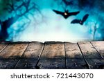 halloween theme of wooden... | Shutterstock . vector #721443070