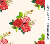 seamless floral pattern rose... | Shutterstock .eps vector #721447654