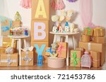 composition with baby shower... | Shutterstock . vector #721453786
