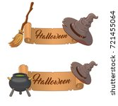two halloween banners  isolated ... | Shutterstock .eps vector #721455064