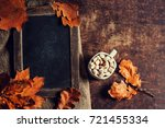 autumn  fall leaves on vintage... | Shutterstock . vector #721455334