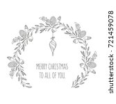 hand drawn christmas wreath... | Shutterstock .eps vector #721459078