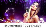 sexy model girl with glass of... | Shutterstock . vector #721471894
