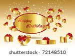 gold birthday card with gifts   Shutterstock .eps vector #72148510