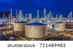 aerial view oil storage tank... | Shutterstock . vector #721489483