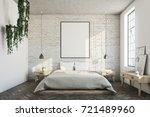 white brick bedroom interior... | Shutterstock . vector #721489960
