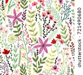 cute floral seamless pattern... | Shutterstock .eps vector #721490680