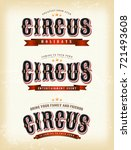 circus banners on vintage... | Shutterstock .eps vector #721493608