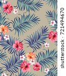 seamless trotical pattern with... | Shutterstock .eps vector #721494670