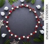frame with christmas wreath ... | Shutterstock . vector #721500364