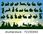 Stock vector easter rabbit outlines with sky background 72150343